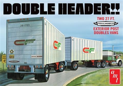"Plastic Kits AMT (e) 1/25 Scale - ""Double Header"" Tandem Van Trailers"