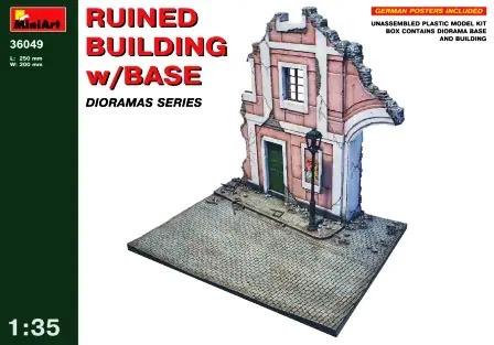Plastic Kits Miniart 1/35 Ruined Building w/Base Plastic Model Ki