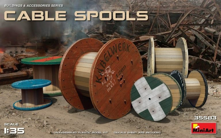 Plastic Kits Miniart 1/35 Cable Spools Plastic Model Kit