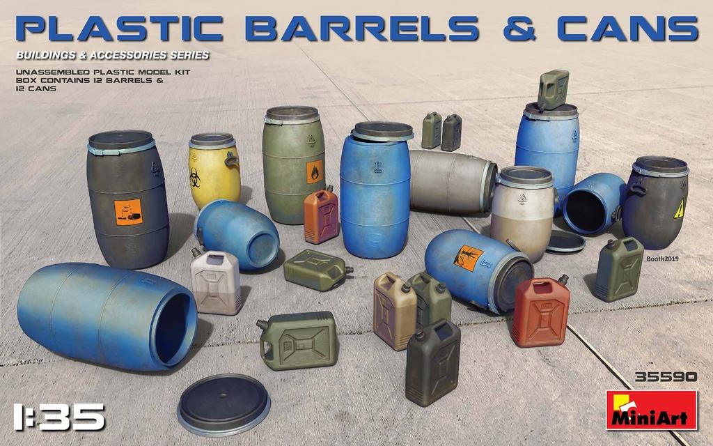 Plastic Kits Miniart 1/35 Plastic Barrels & Cans Plastic Model Kit
