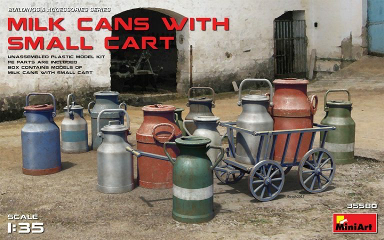 Plastic Kits Miniart 1/35 Milk Cans with Small Cart Plastic Model Kit
