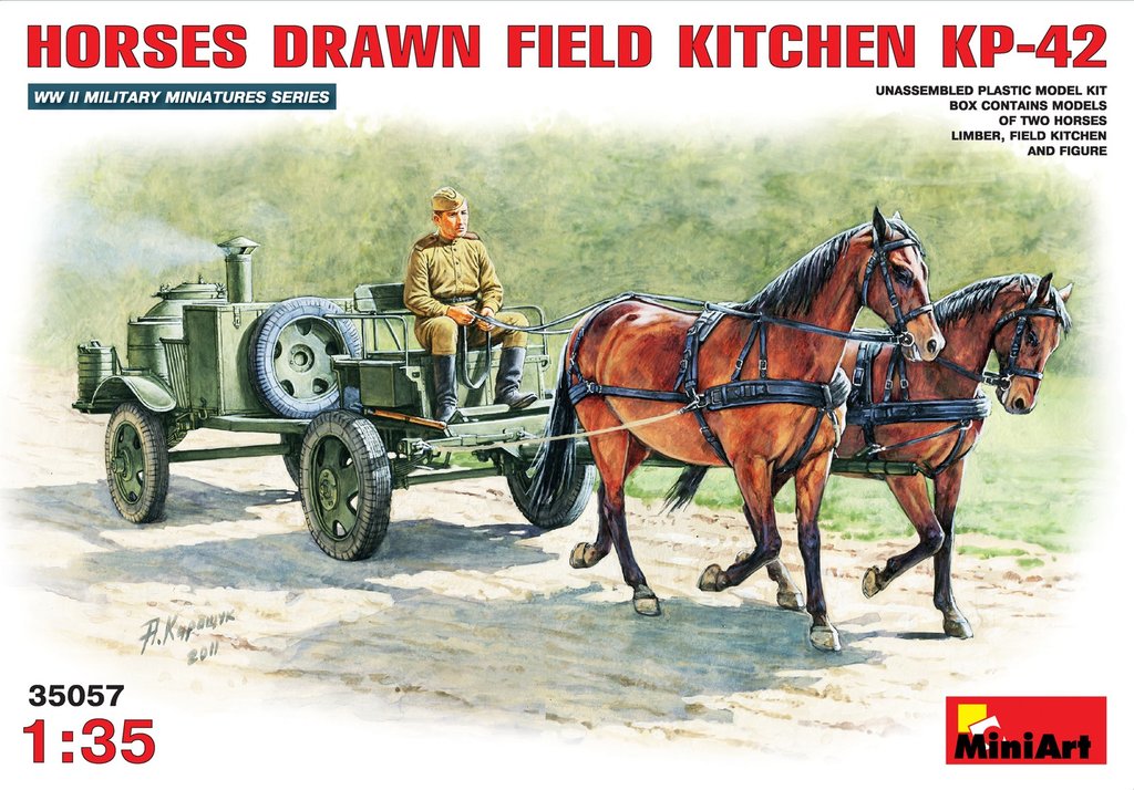 Plastic Kits Miniart 1/35 Horses Drawn Field Kitchen KP-42 Plastic Model Kit