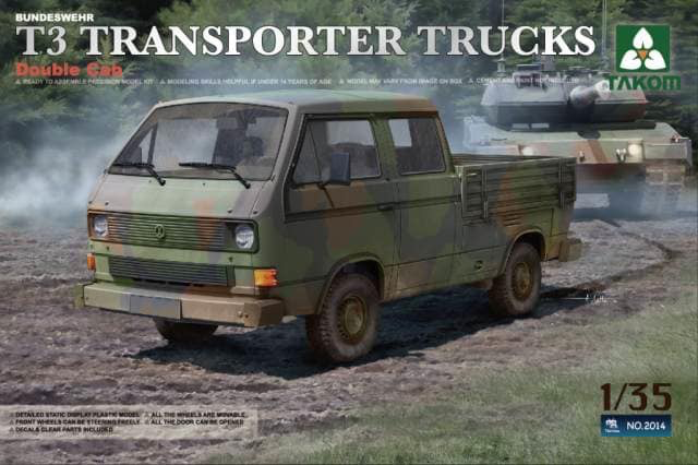 Plastic Kits Takom 1/35 Bundeswehr T3 Transporter Trucks Double Cab