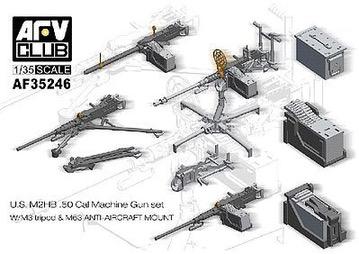 Plastic Kits AFV Club (i) 1/35 Scale -  U.S. M2HB .50 Cal Machine Gun Set W/M3 Tripod & M63 Anti-Aircraft Mount.