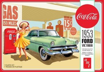 Plastic Kits AMT (i) 1:25 Scale - 1953 Ford  Victoria Hardtop W/Coca-Cola Machine 2T Plastic Model Kit