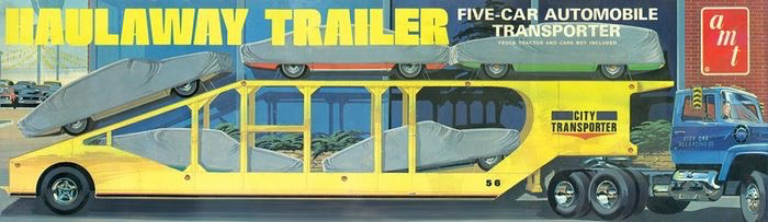 Plastic Kits AMT (k) 1:25 Scale -  5-Car Haulaway Trailer
