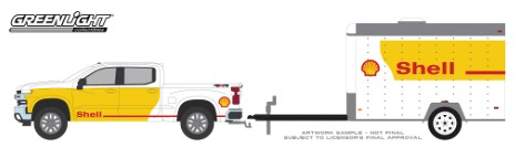 Diecast DDA 1:64 2019 Chev Silverado Shell Oil and Small Shell Aviation Service Cargo Trailer