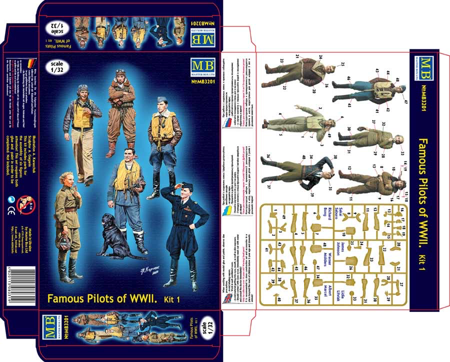 Plastic Kits MB Aircrew Famous Pilots of WW2