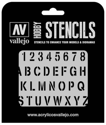 Paint Vallejo 1/35 Stamp Font Stencil