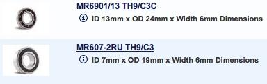 Parts Boca Bearing Radial Kit (2 Bearing) (Suit Rossi 21, Nova 15)