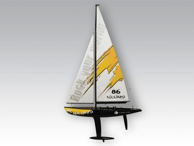 Boat Sailing Thunder Tiger Naulantia Yacht Yellow. Requires 2ch Radio, 1 <br />standard Servo & 1 Winch Servo