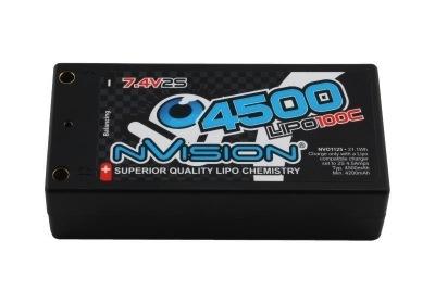 Battery LiPo NVision 7.4v 4500mah HC 100C Shorty Pack w/Tubes