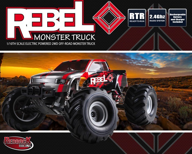 Cars Elect RTR REBEL Truck, 1/10 2wd Brushed, 2.4GHZ. Battery & Charger included.
