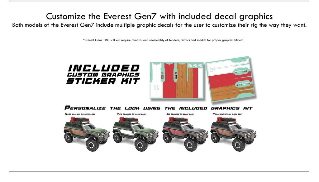 Cars Elect RTR Everest GEN7 Pro 1/10 Crawler RTR Black. D. Battery & Charger included.