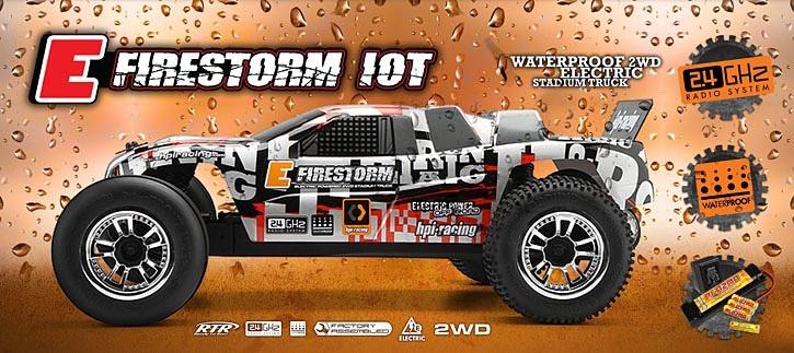 Cars Elect RTR HPI E-Firestorm 10T 1/10 2WD Electric Stadium Truck