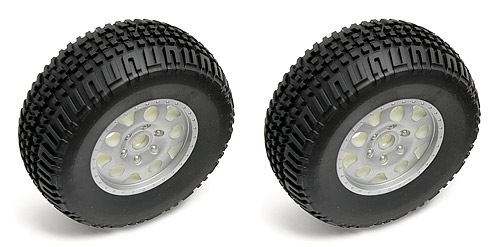 Wheels Team Associated SC10 Front Tire/Wheel combo, silver