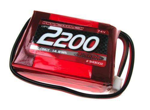 Battery LiPo Nosram LIPO 2200 7.4V Receiver Pack Small Hump Pack Style