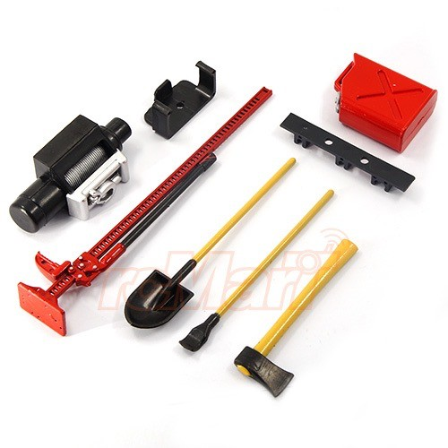 Parts Yeah Racing 1/10 RC Crawler Scale Accessory Tool Set-Axes,Digging Shovel, Oil Tank, High Jack, Winch, Pry Bar. Red