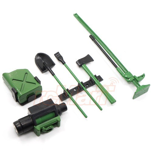 Parts Yeah Racing 1/10 RC Crawler Scale Accessory Tool Set-Axes,Digging Shovel, Oil Tank, High Jack, Winch,, Pry Bar. Green