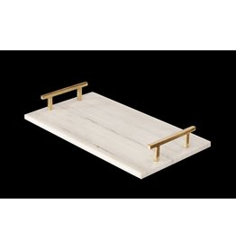 Lincoln Marble Tray w/ Brass Handles
