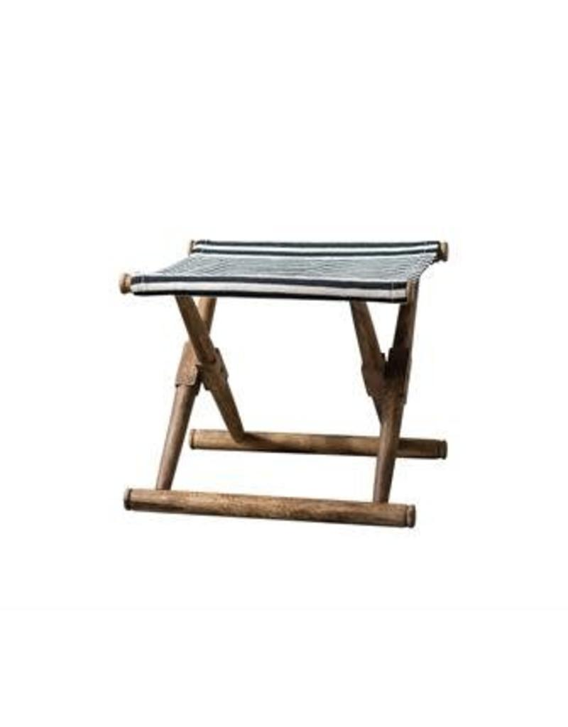 Mango Wood & Cotton Striped Folding Stool