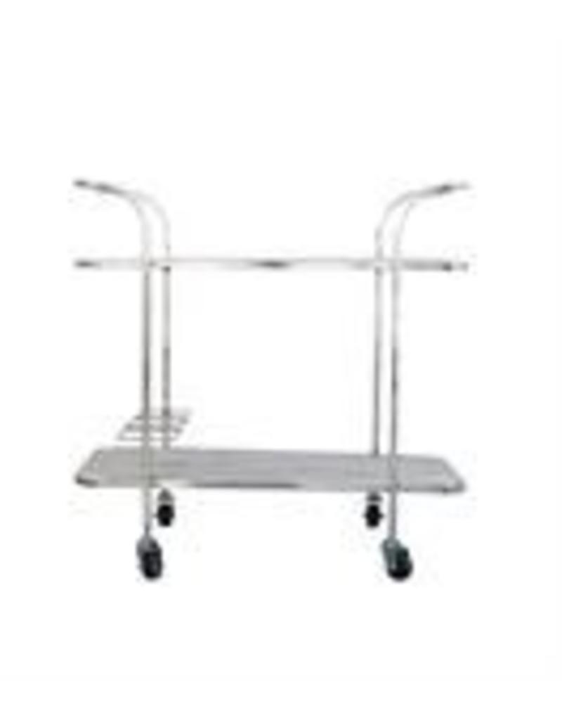 Display Stainless Steel/Bleached Mango Bar Cart in Nickel