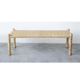 Display Mango Wood & Woven Rope Bench