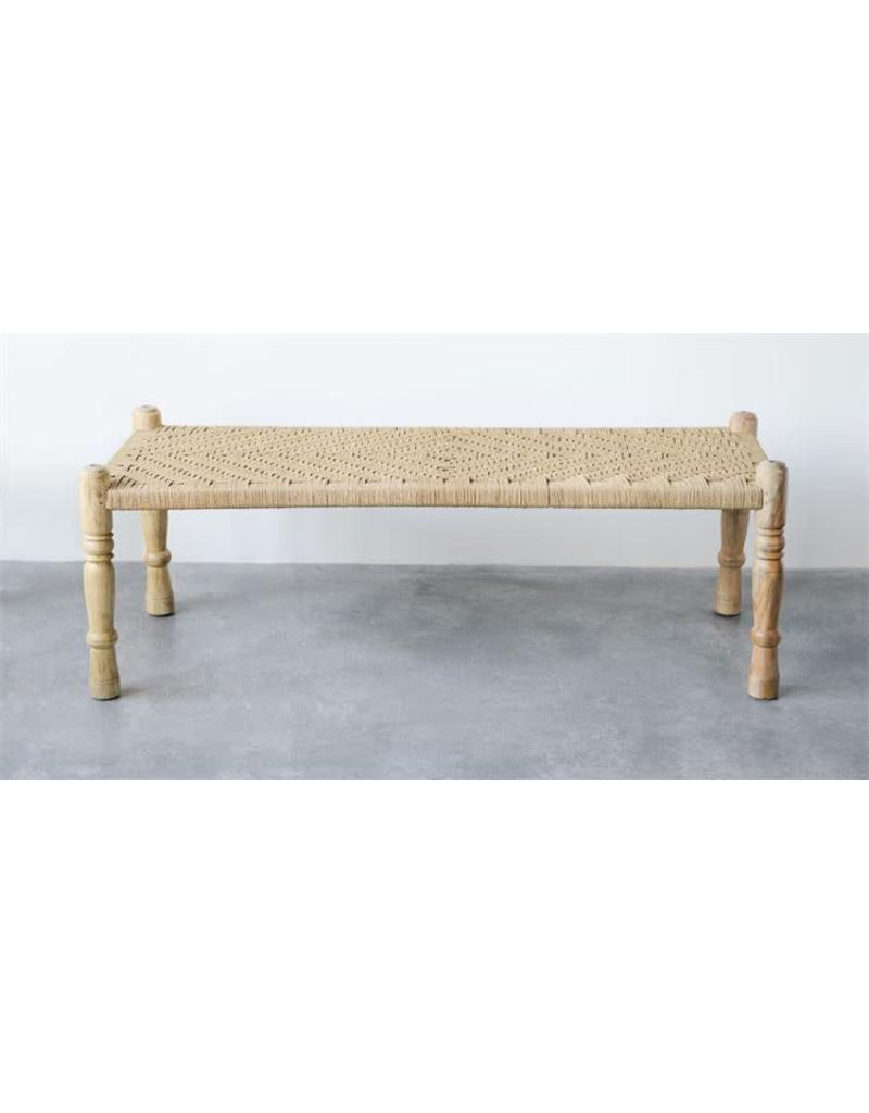 Display Mango Wood & Woven Rope Bench