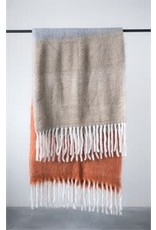 Russet Plaid Mohair & Acrylic Throw