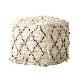 Display Cotton Moroccan Wedding Quilt Poof