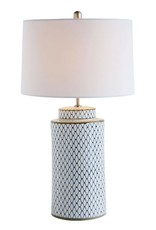 Indigo Ceramic Lamp w/ Linen Shade