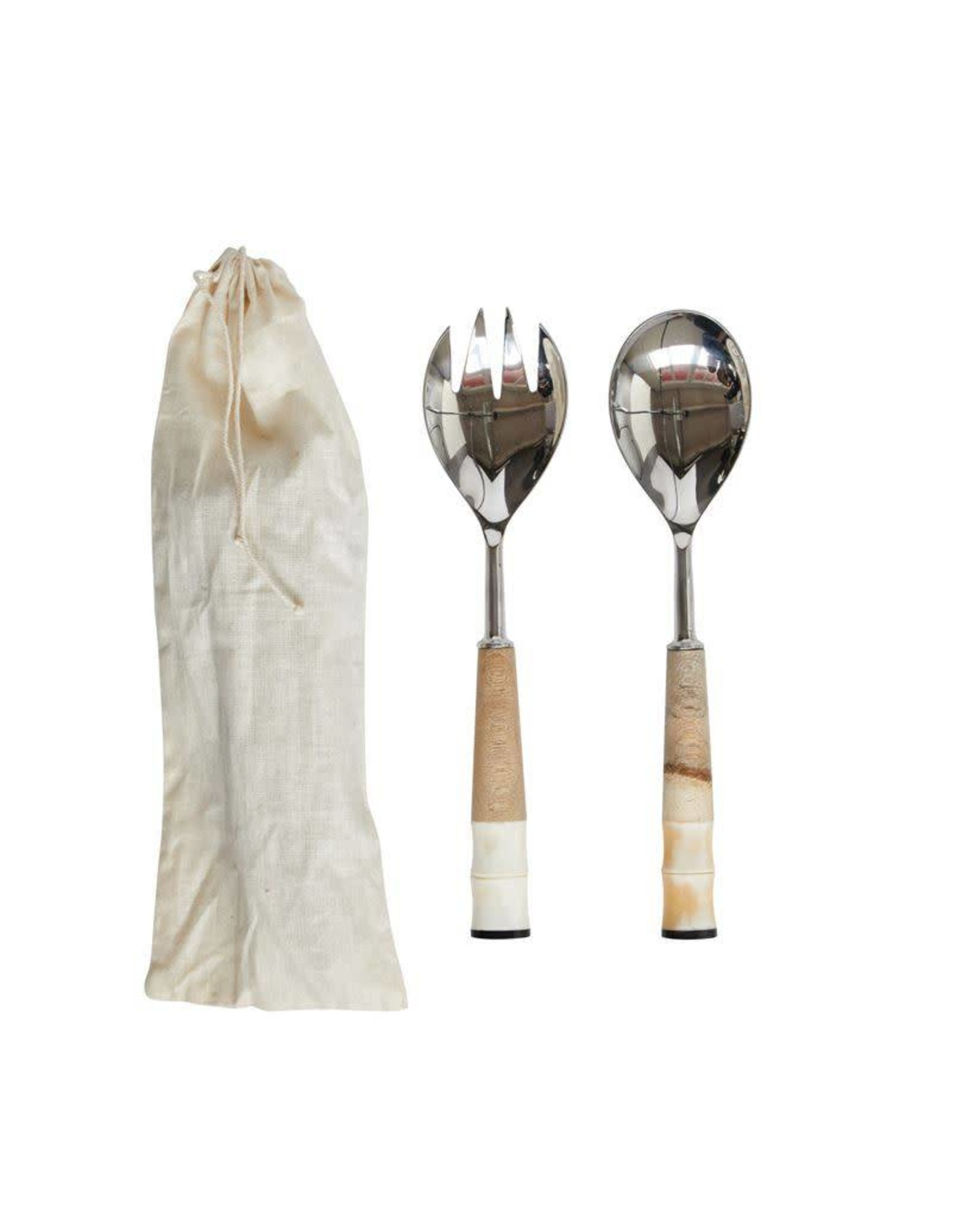 Stainless Steel, Wood & Horn Salad Servers w/ bag