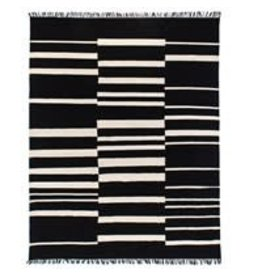 Display Offset Black Stripe Cotton Rug 5x8