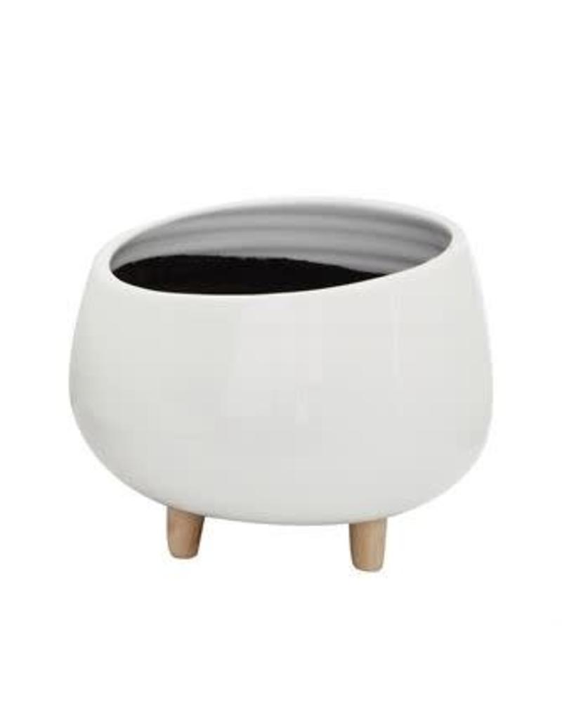 White Ceramic Planter w/ Wood Feet