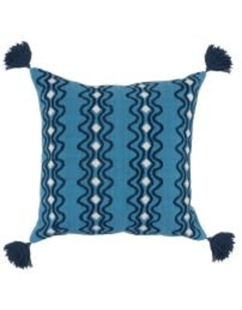 """Arya Parisian Blue/Navy Pillow 22"""""""