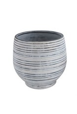 Stoneware Planter, Grey & White Stripe