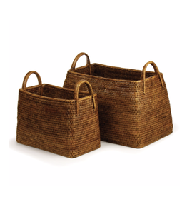 Burma Rattan Narrow Magazine Basket - large
