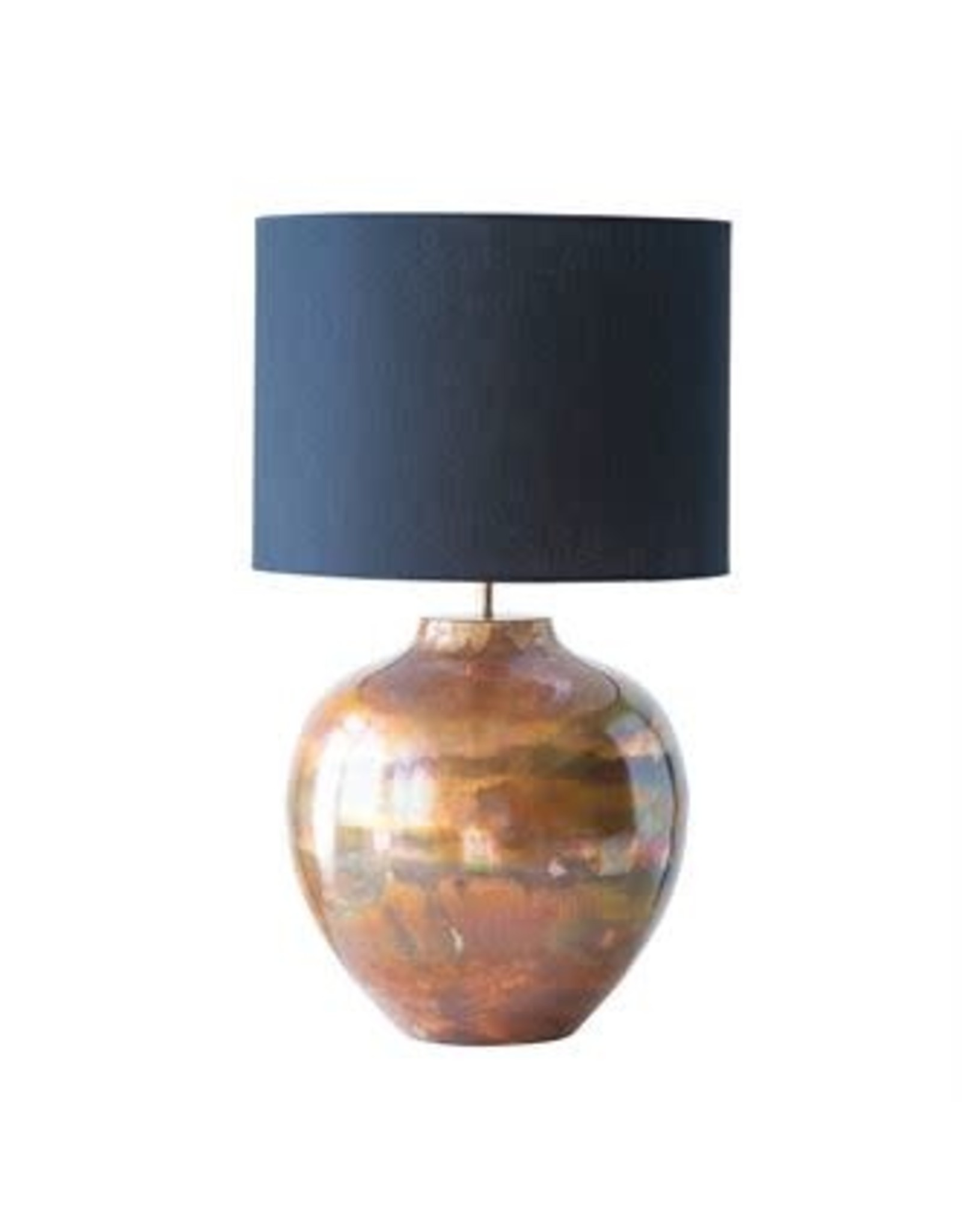 Copper Metal Table Lamp w/ Black Shade