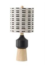 Wood & Ceramic Table Lamp w/ Mudcloth Shade