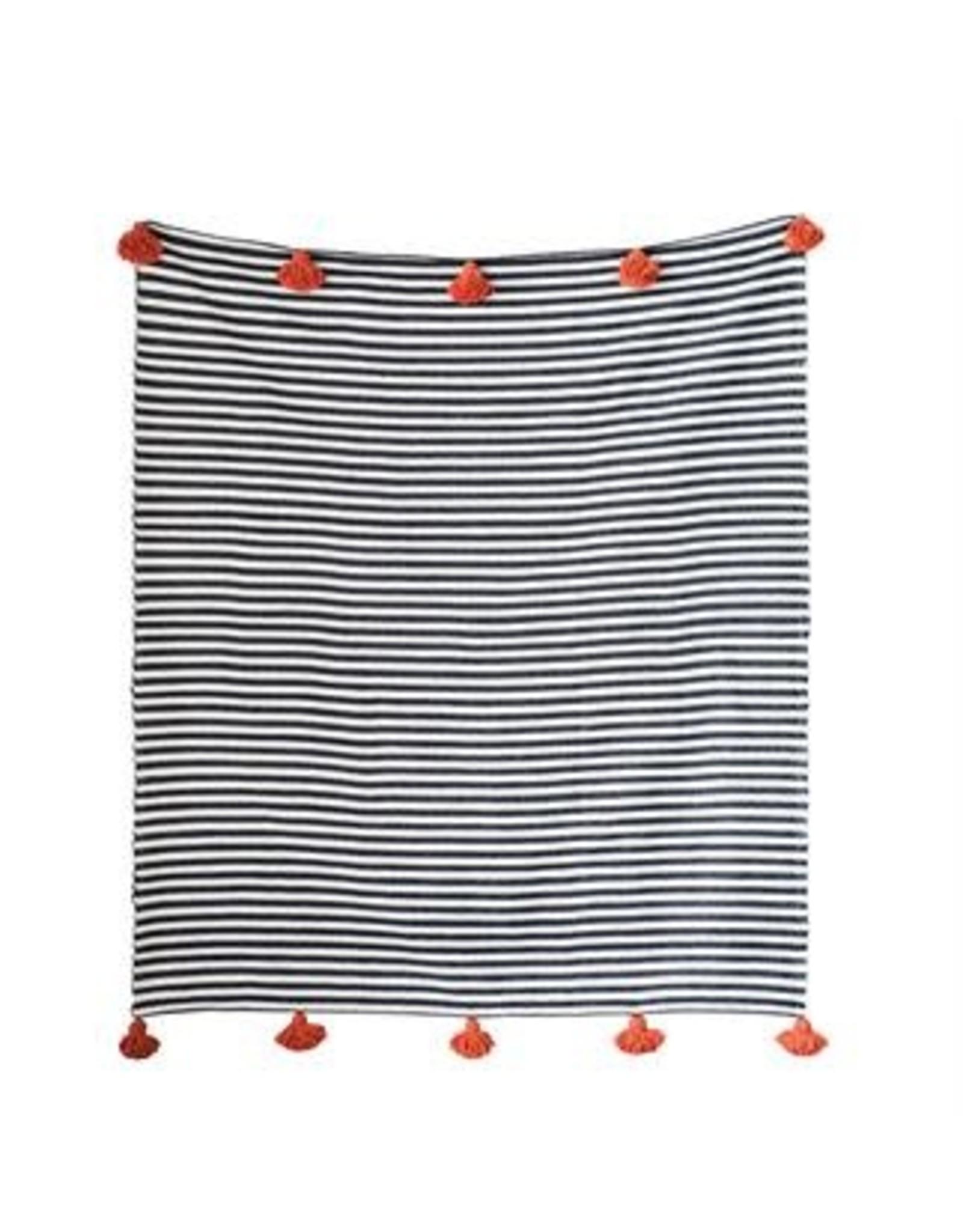 Hand-Loomed Cotton Striped Throw, Black w/ Orange Tassels