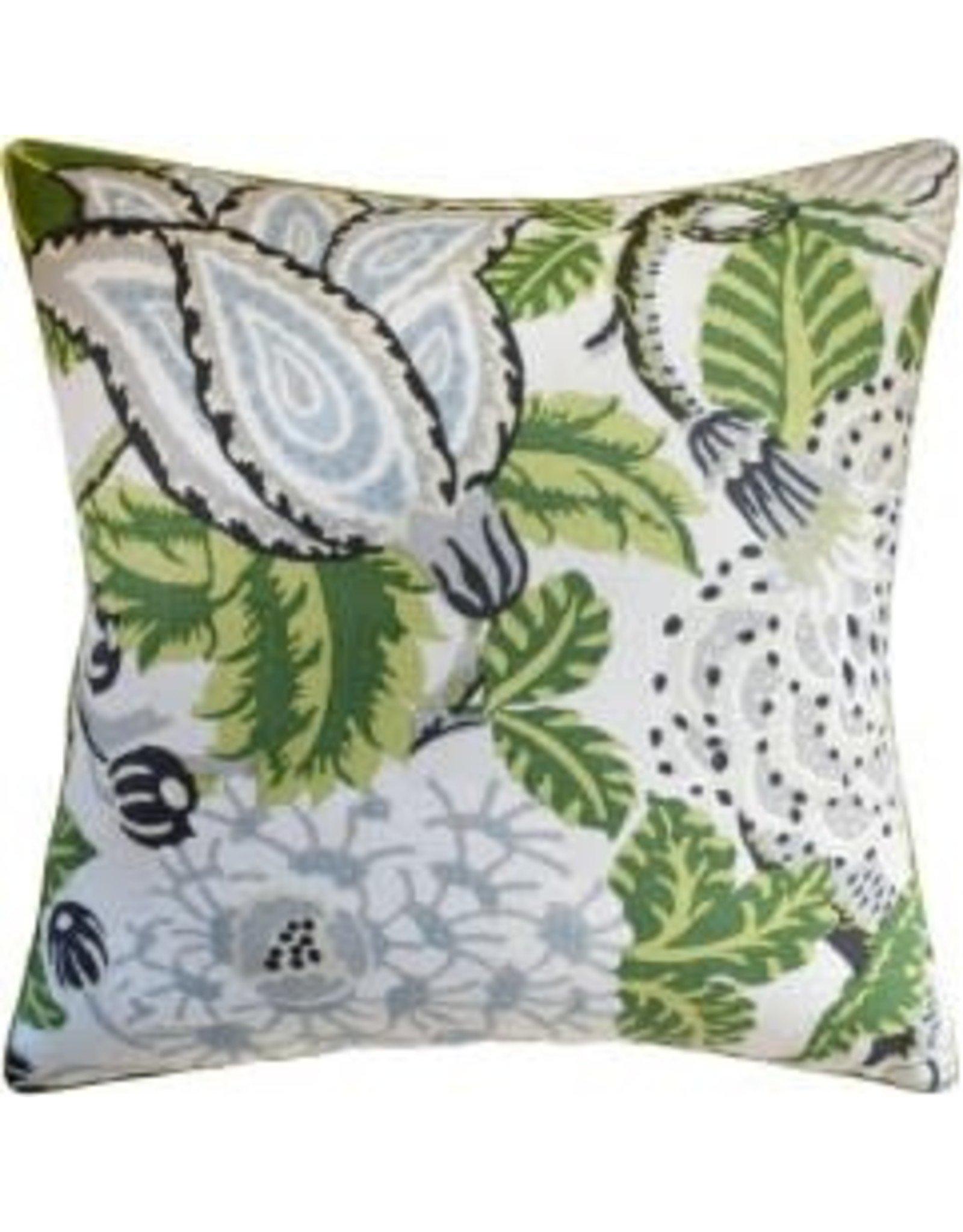 """Mitford Green & White Pillow 22"""""""