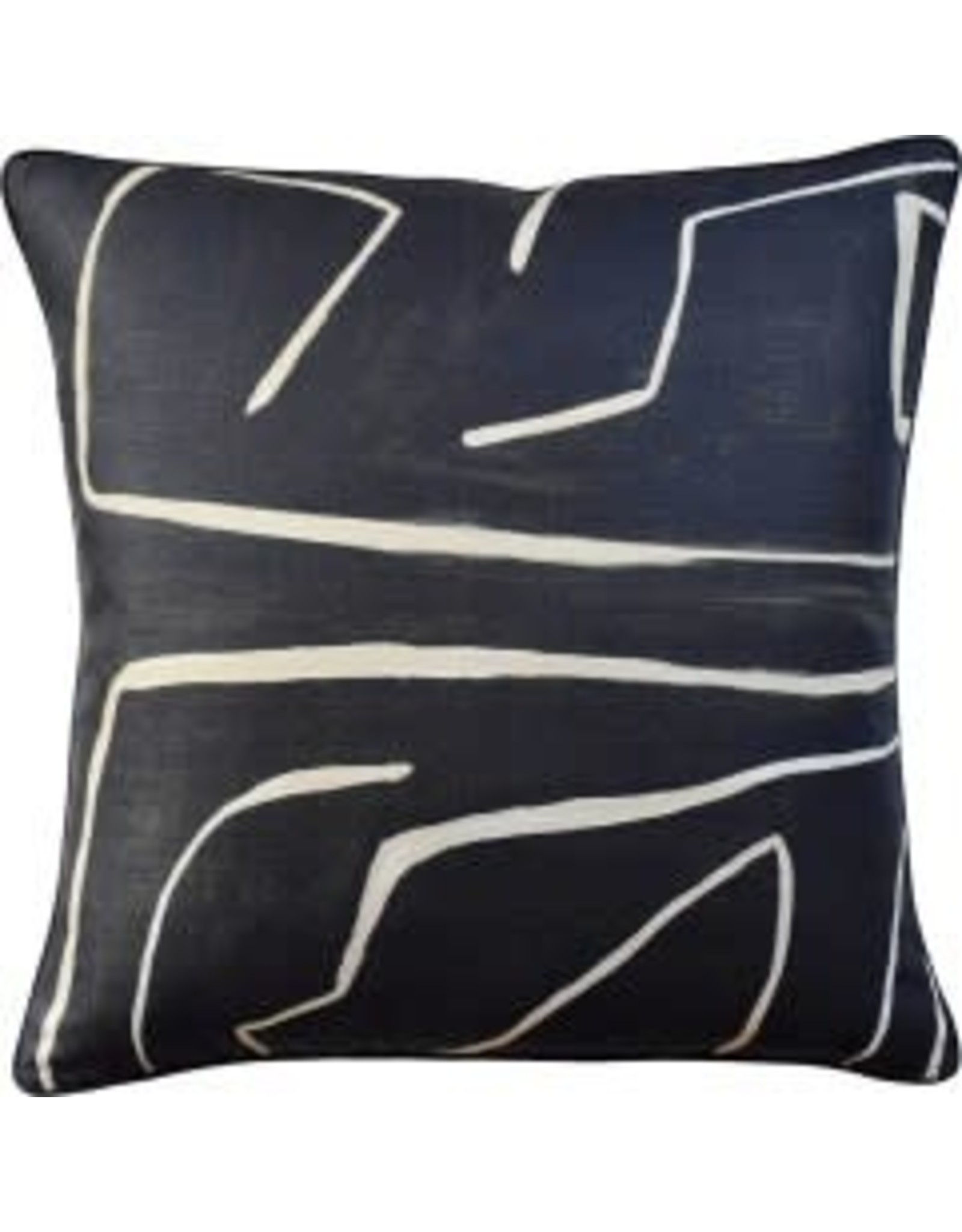 "Graffito Onyx/Beige Pillow 22"""