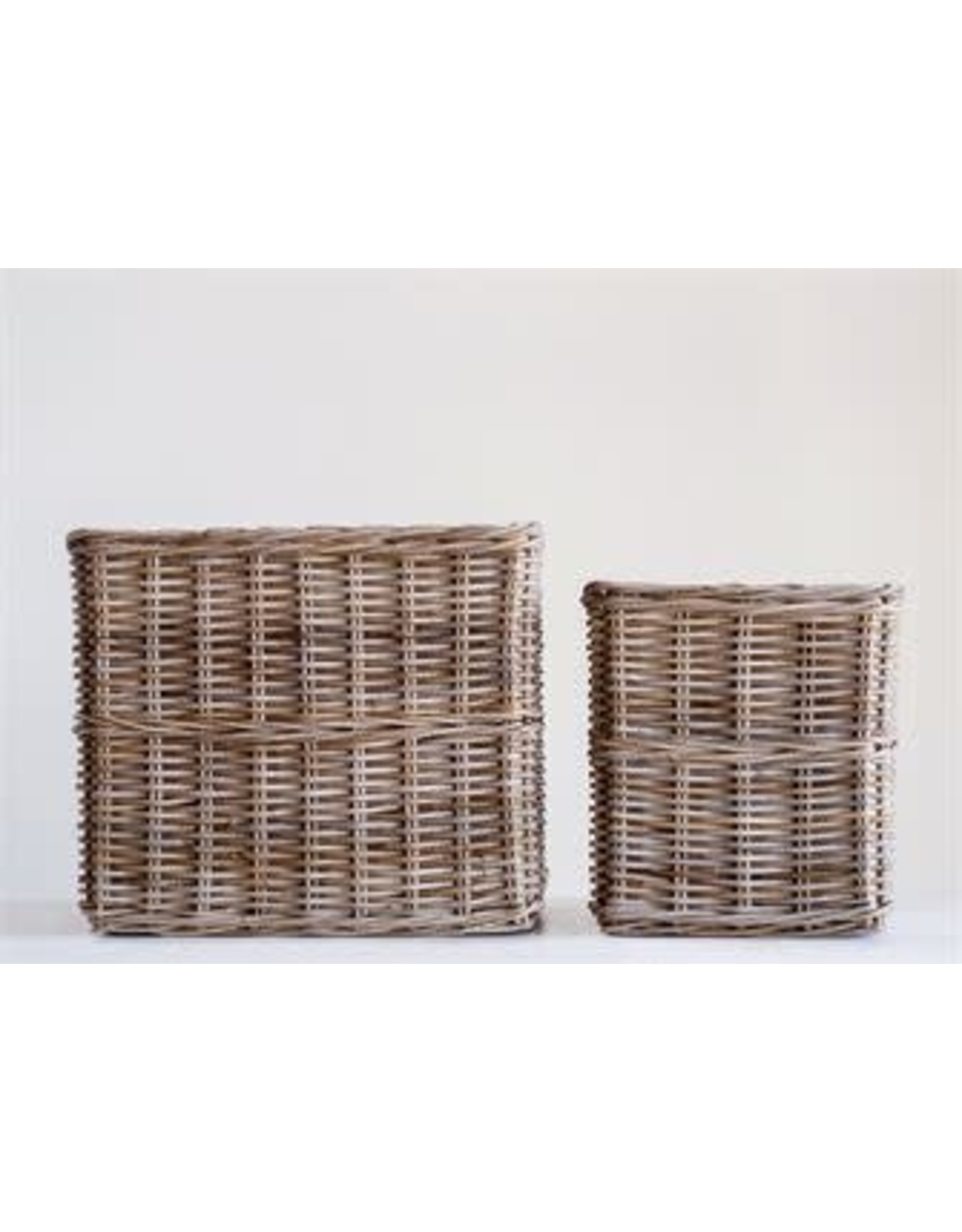 Square Natural Rattan Basket - large