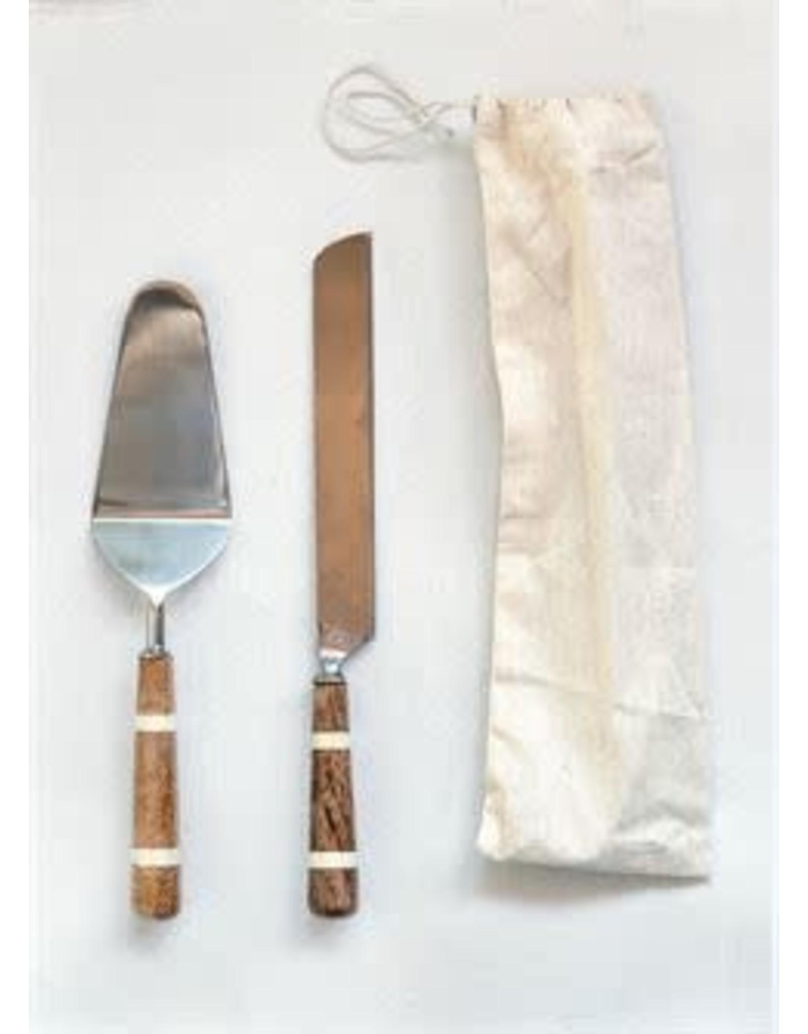 Cake Knife & Server w/ Wood & Horn Handle S/2
