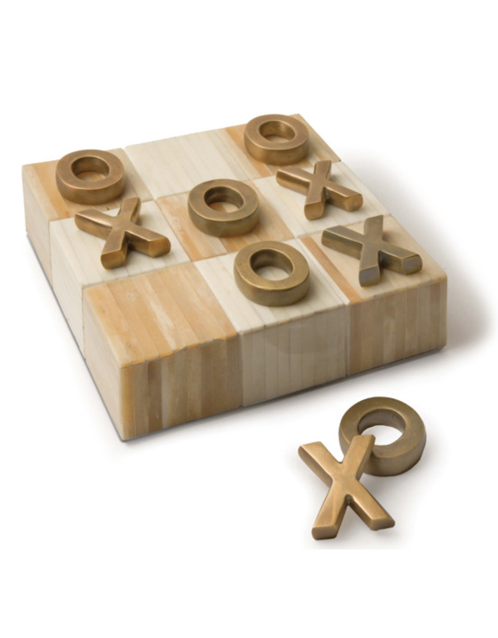 Tic Tac Toe Flat Board With Brass Pieces