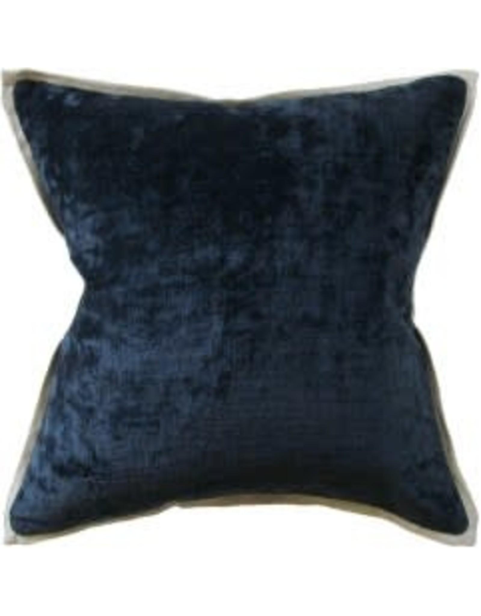 "Umbria Linen Flange Dark Indigo Pillow 22"""