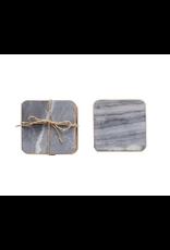 Marble Coasters, Grey w/ Gold Edge, s/4