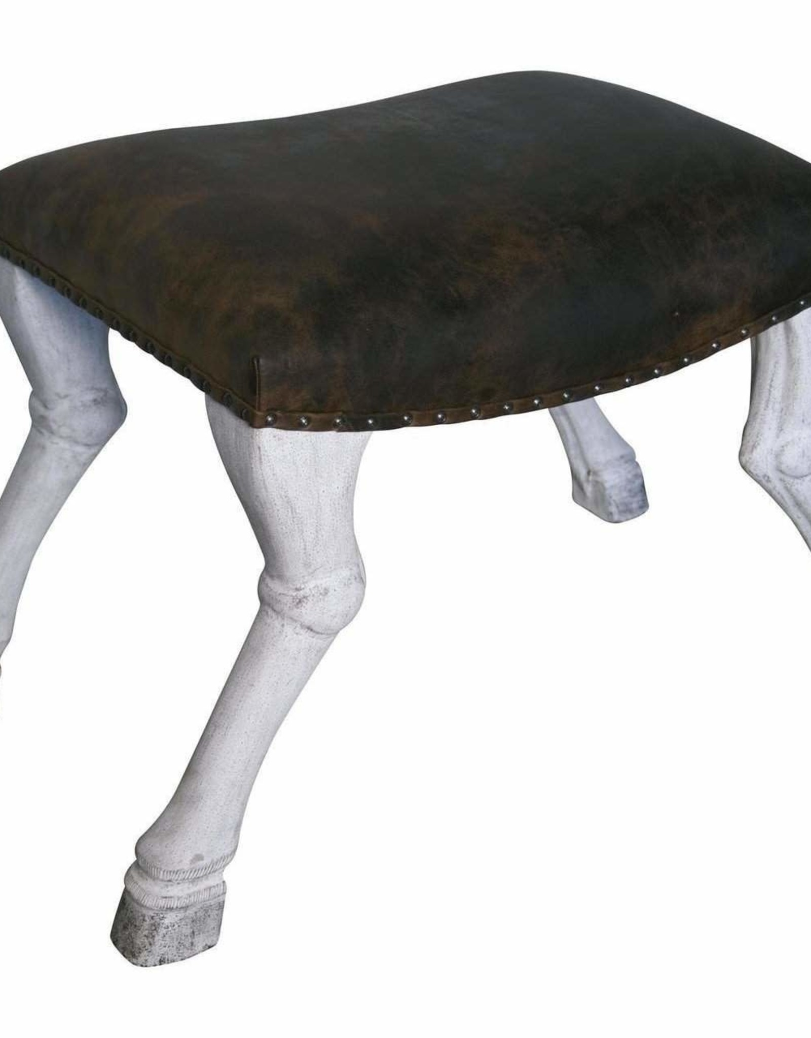 Website Noir Claw Leg Saddle Stool w/ Leather
