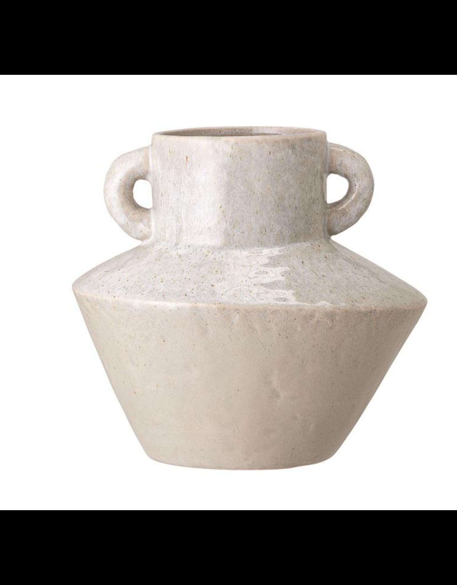 Stoneware Vase w/ Handles, Reactive Glaze, White