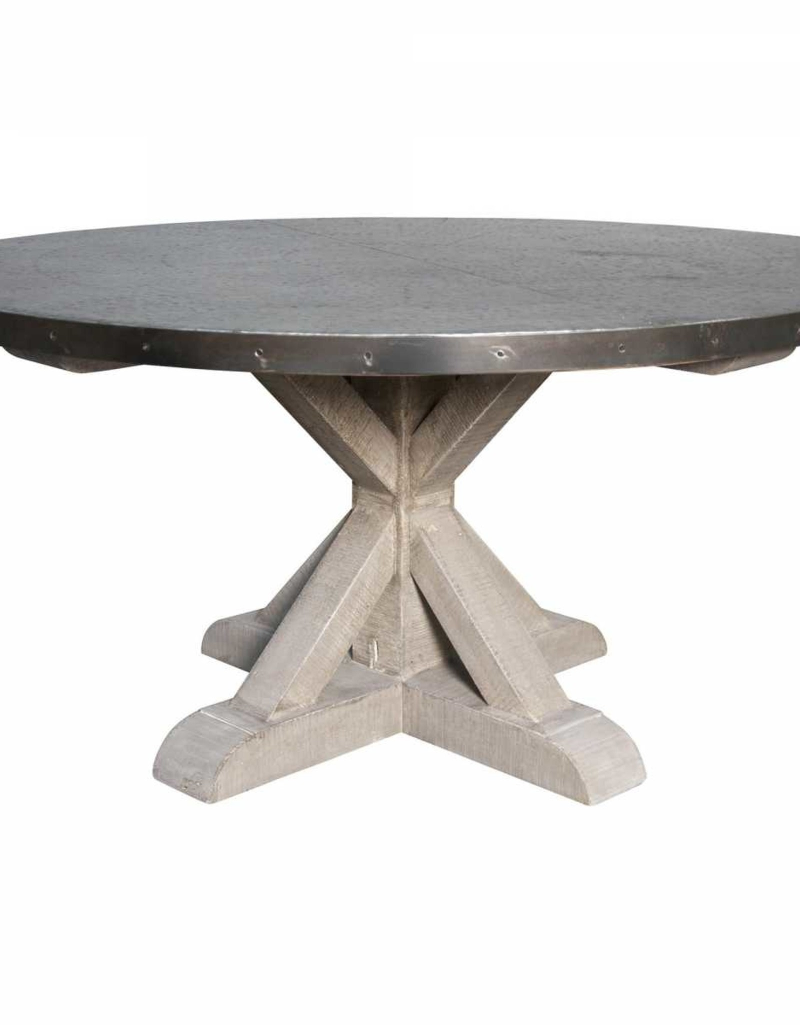 Website Noir Hammered Zinc Top Round Table w/Wooden X Base